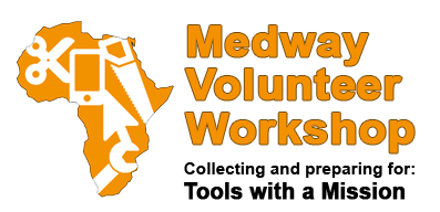 Medway Volunteer Workshop in Kent is a local initiative to help a national charity, Tools with a Mission, headquartered in Ipswich